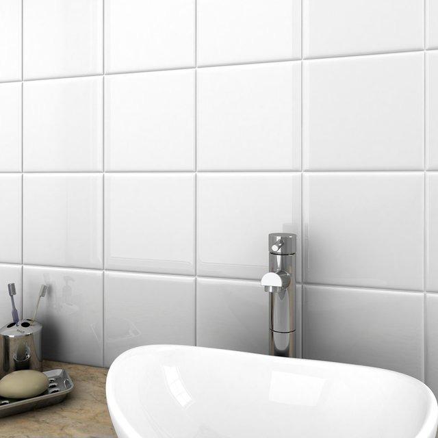 Awesome Azulejos Blanco Brillante 15x15 Cm Revestimiento Cocina Baño