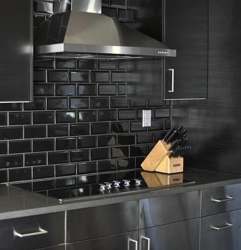 Azulejos Ceramicos Subway Negro Biselado 7 5x15 Bano Cocina Pared