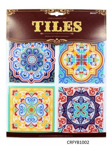 azulejos hidráulicos adhesivos c/u 12.5x12.5cm (set x 4) 3d