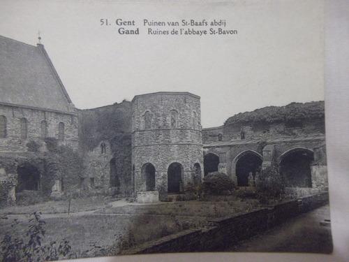 b. antigo- cartão postal francês ruínas da abadia de st bavo