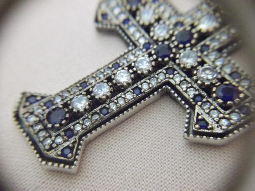 b. antigo - crucifixo italiano prata lei safiras e zirconias
