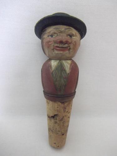 b. antigo - escultura alemã em madeira rolha de garrafa