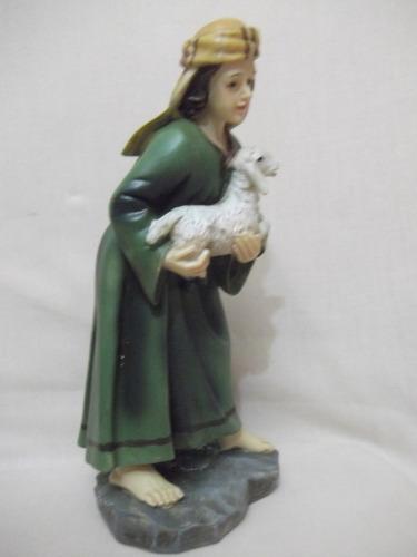 b. antigo - figura de presépio pastor com carneiros 20,0 cm