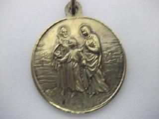 b. antigo - medalha sacra de jesus maria e josé frete grátis