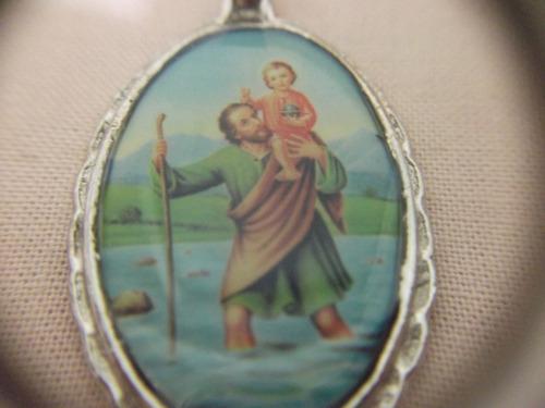b. antigo - medalha sacra de são cristovão frete grátis