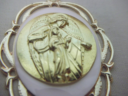 b. antigo - medalhão para berço anjo da guarda com oração