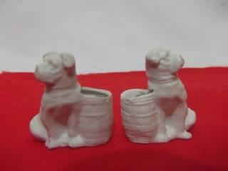 b. antigo - par de floreiros miniatura em biskui branco