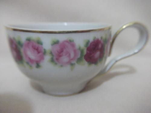 b. antigo- xícara de café porcelana saler decorada com rosas