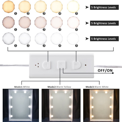 b-land hollywood - kit de luces led de espejo de tocador con