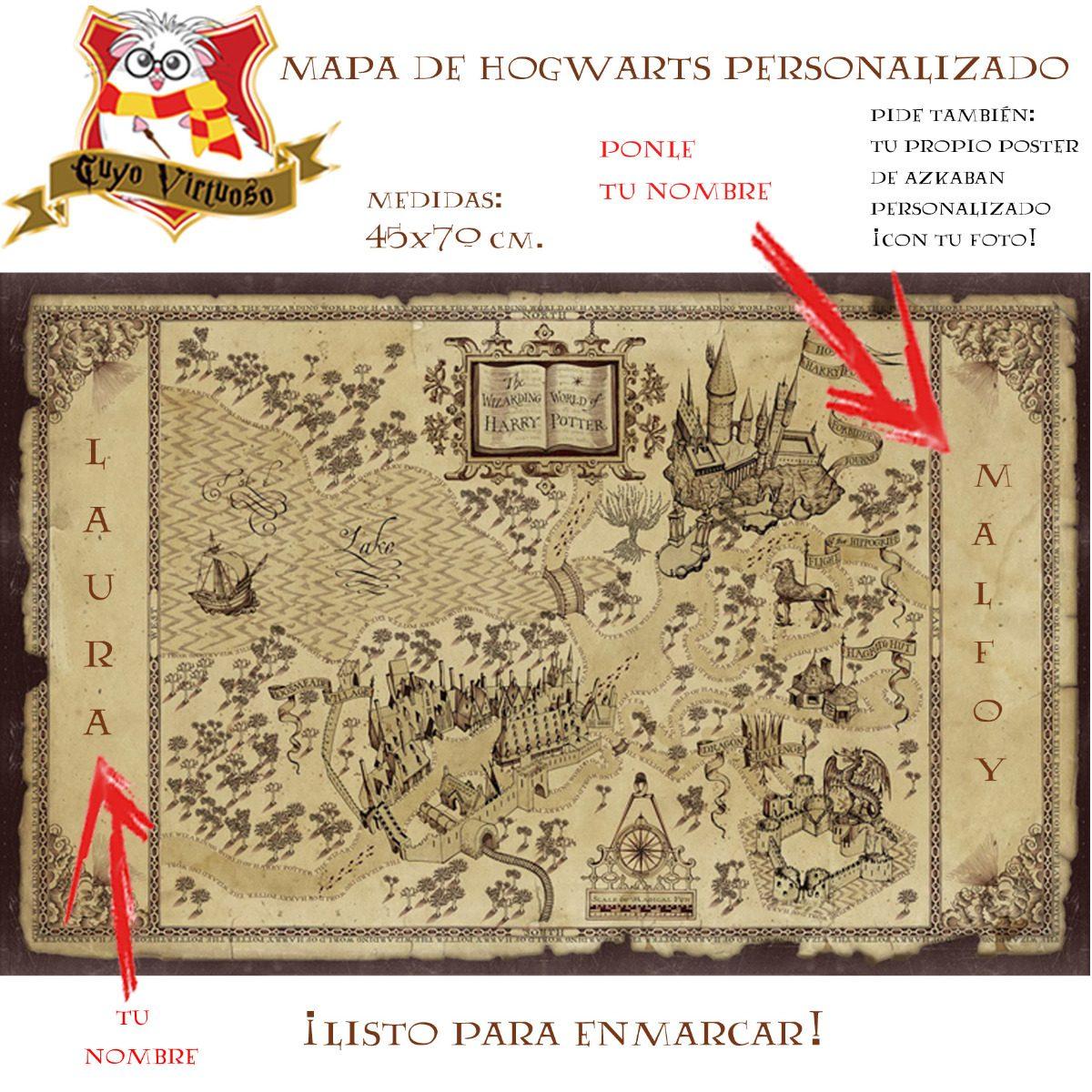 B Mapa Del Merodeador Personalizado Listo Para Enmarcar - $ 349.00 ...