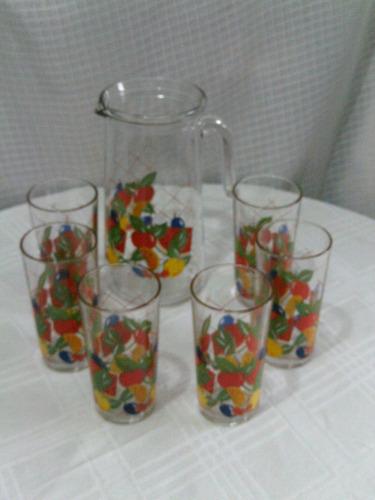 b. passado - lindo, antigo jogo de jarra e 6 copos decorados