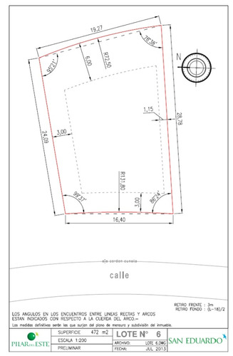 bº pilar del este (san eduardo) - lote de 472 m²