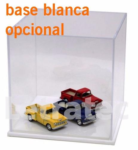 b01-101 caja acrílica c/base mdf negra cubo10cm colección