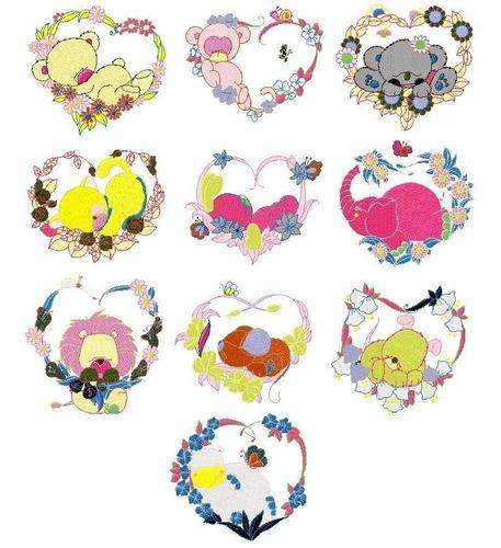 b04 coleção bordados computadorizados animais coração