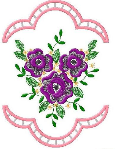 b232 coleção bordados computadorizados cutwork flores
