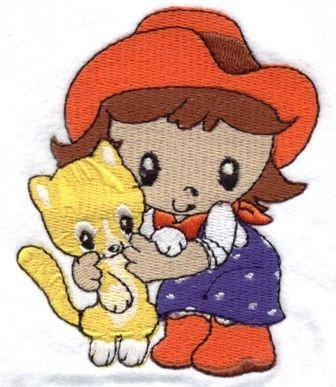 b753 coleção bordados computadorizados meninas cawboy boneca