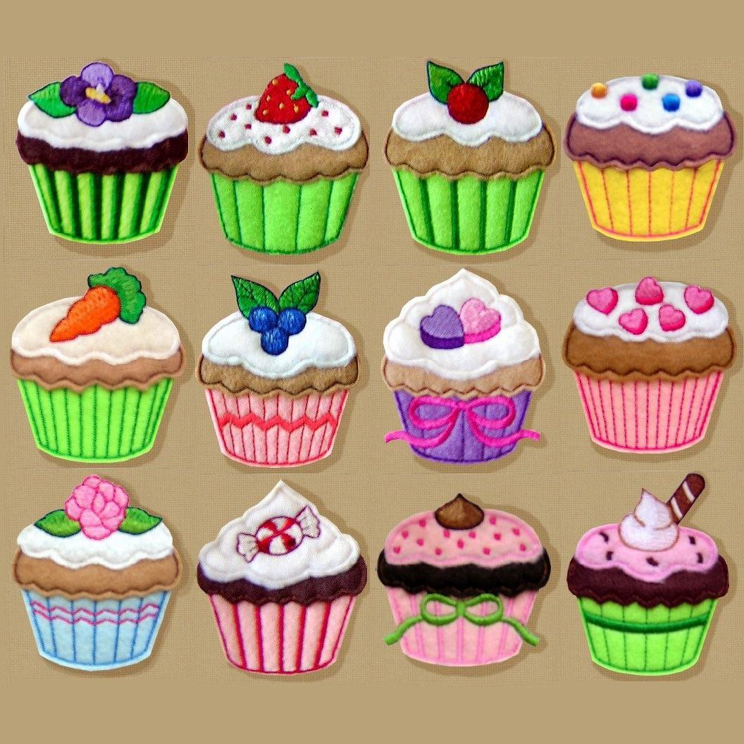 B925 Cole 231 227 O Bordados Computadorizados Apliques Cupcakes