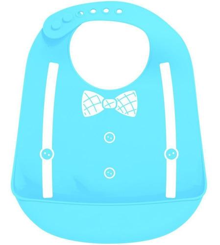 babador buba baby silicone pega migalhas formato gravata cor azul bebe fechamento botoes ajustaveis.