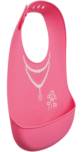babador com cata migalhas kababy rosa para menina silicone.
