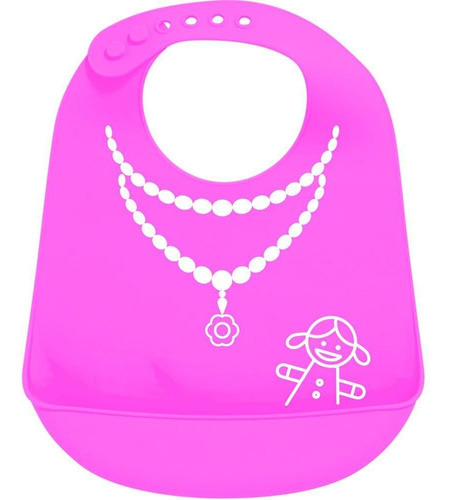 babador pega migalhas rosa buba baby silicone desenho joia para menina fechamento botoes ajustaveis.