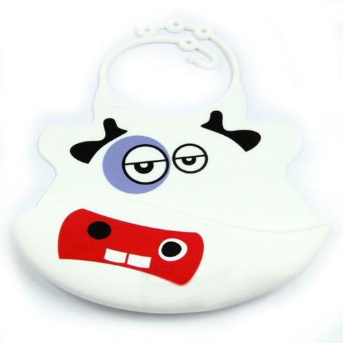 babero baby bib con vaca-blanco