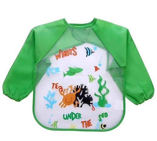 babero de plástico con mangas bebé niño y niña