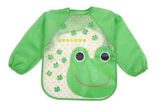 babero delantal plástico manga larga impermeable bebé niño-a
