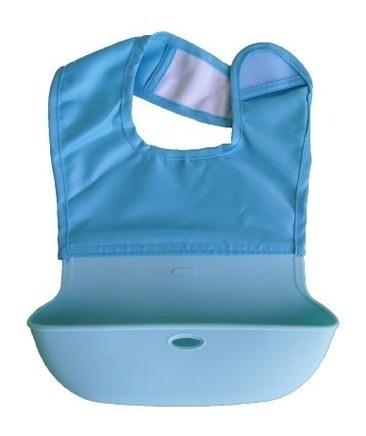 babero para bebe priori silicona y tela de avion enrollable