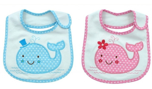 baberos tri-capa bebe nene y nena bordados importado