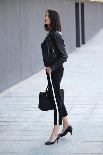 babucha negra de vestir para mujer con linea blanca