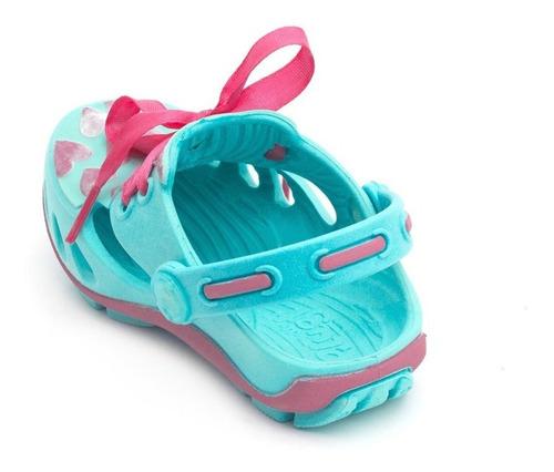 babuche plugt mocs corações infantil - piscina/pink