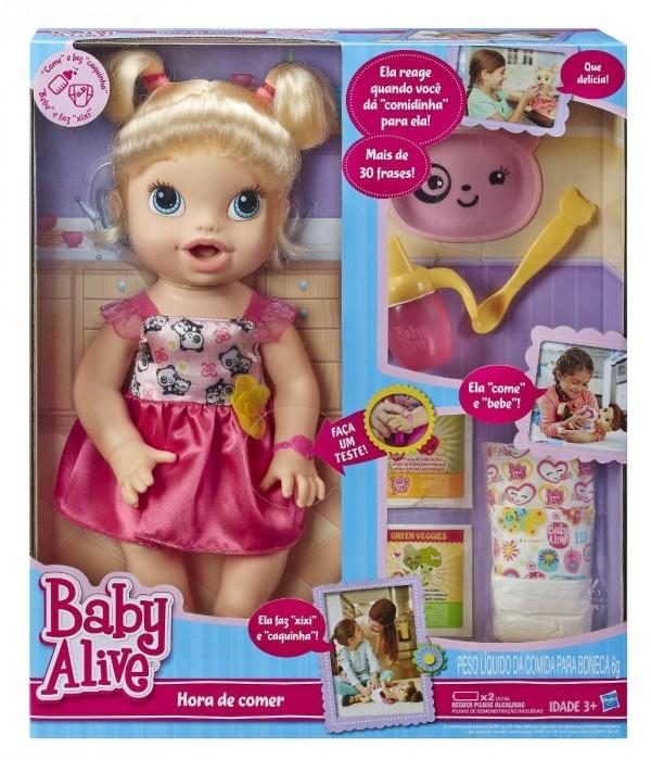0a05d0b0e1 Baby Alive Hora De Comer Loira Hasbro Faz Xixi E Caquinha - R  489 ...