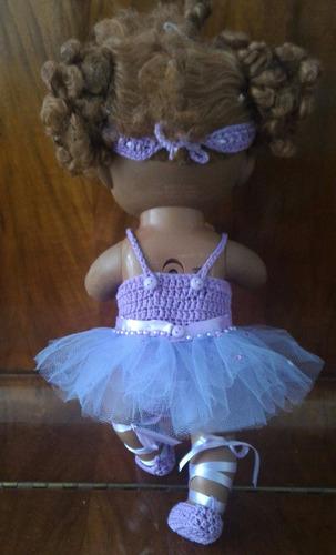 baby alive roupinha de bailarina crochê lilás com predrinhas