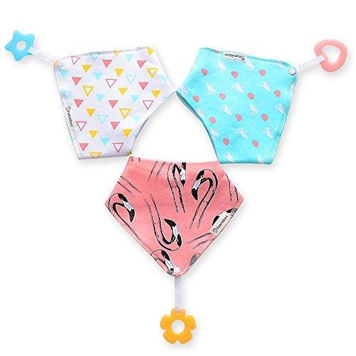 baby bandana drool bibs 3-paquete y juguetes de dentic u21
