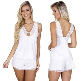 aa1351646ee1c5 Baby Doll Branco Transparente Pijama Em Microfibra E Renda