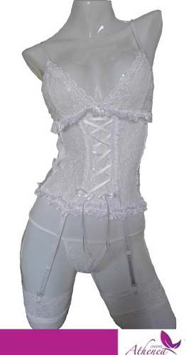 baby doll corselette+ ligas+ tanga -negro-rojo-blanco s m l