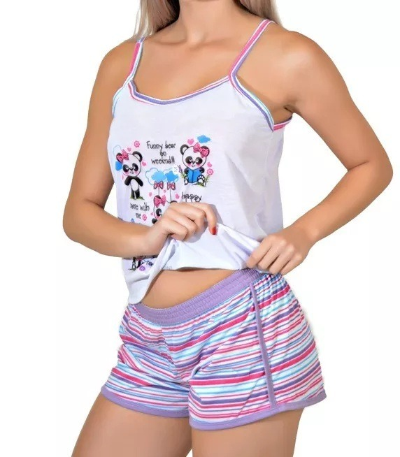 0316b306621f89 Baby Doll Feminino Short Doll Panda Listras Roupa De Dormir