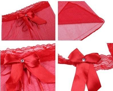 materiales de alta calidad extremadamente único varios diseños Baby Doll Lencería Noche Sexy Ropa Interior Encaje Moño Rojo