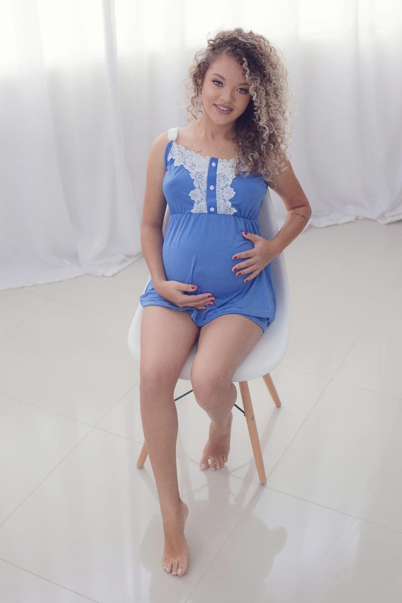 369a65774d4e1d Baby Doll Para Gestantes Confortável Com Detalhes Em Renda
