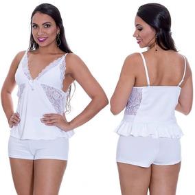 c7be2e44015472 Camisola Branca Short Doll Pijama Lingeries Sexys - P M G Gg