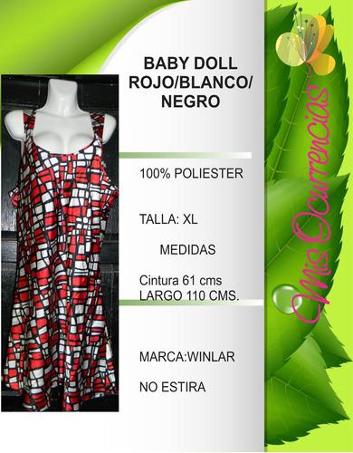baby doll rojo blanco negro talla xl