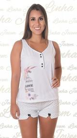 6167fc84f2cd3b Baby Doll Short Doll C/ Fenda Regata De Malha Pijama Atacado