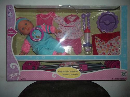 baby doll with stroller set muñeca con coche