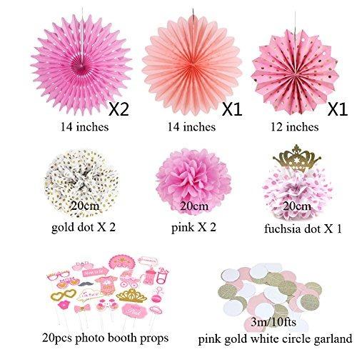 baby girl princesa rosa y oro cumpleaños fiesta decoración g