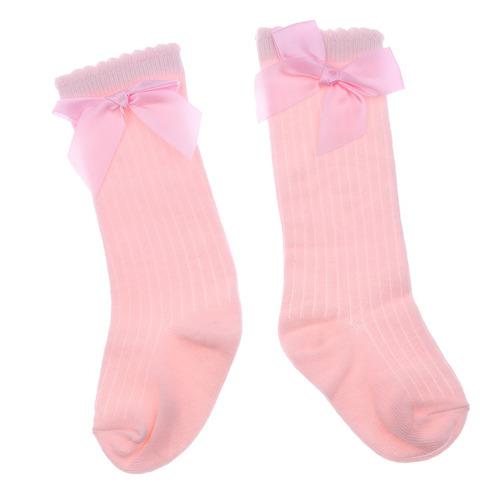 baby kids cotton socks knee high long bow socks anti skid  2