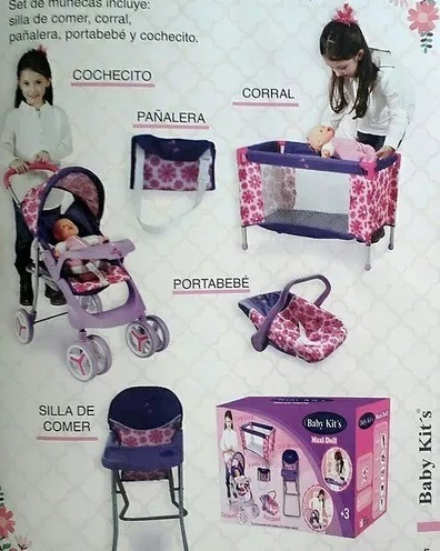 baby kits juguete para niñas 5 en 1 coche/cuna sellado