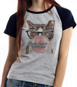 006e3351bc Baby Look Blusa Feminina Gatos Nerds Chicletes Cats Bubble