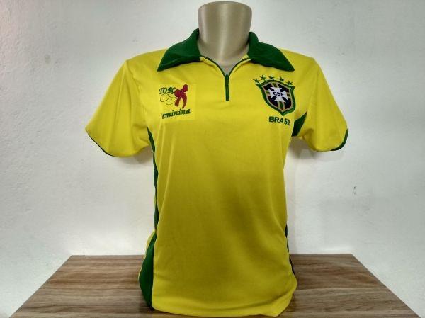 Baby Look Camisa Feminina Seleção Brasil Bordado Ultimas 5 - R  37 ... 94e817b07f382