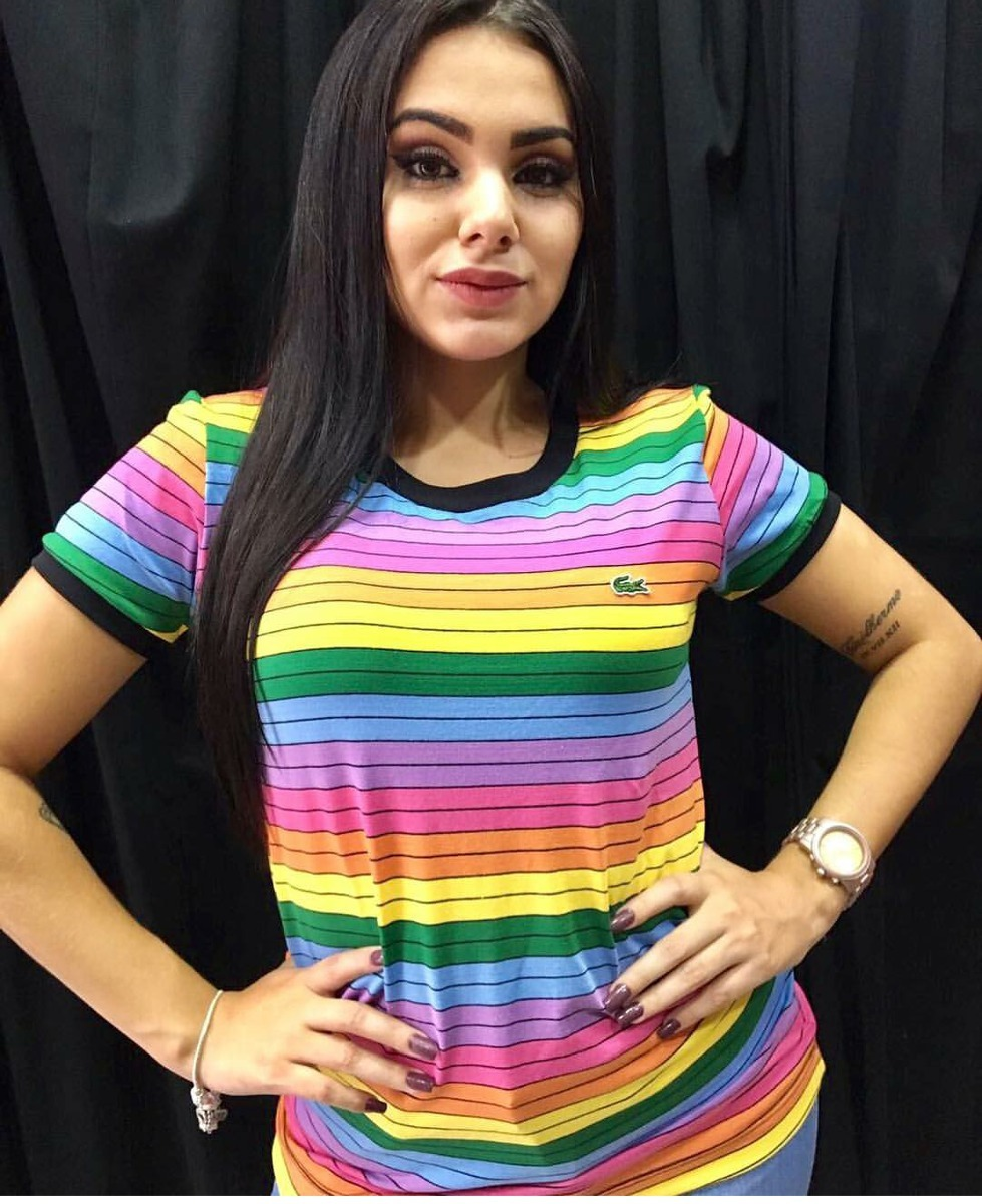 9ed95d5b03833 baby look camiseta lacoste arco iris feminina - peruana top. Carregando zoom .