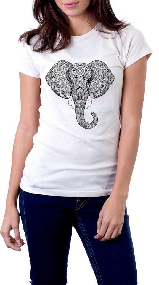 ec0b9d7c81 baby look elefante mandala psicodelia camisa feminina branca. Carregando  zoom.